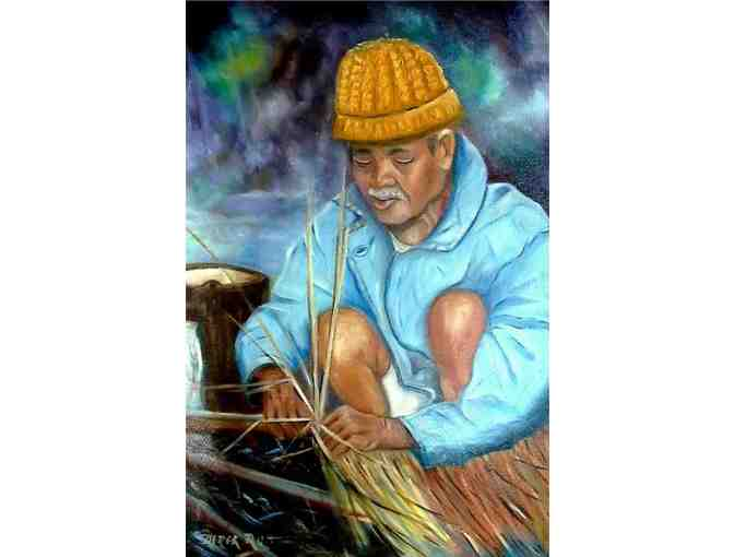'Roof Making, Northern Thailand' by Artist Derek Rutt
