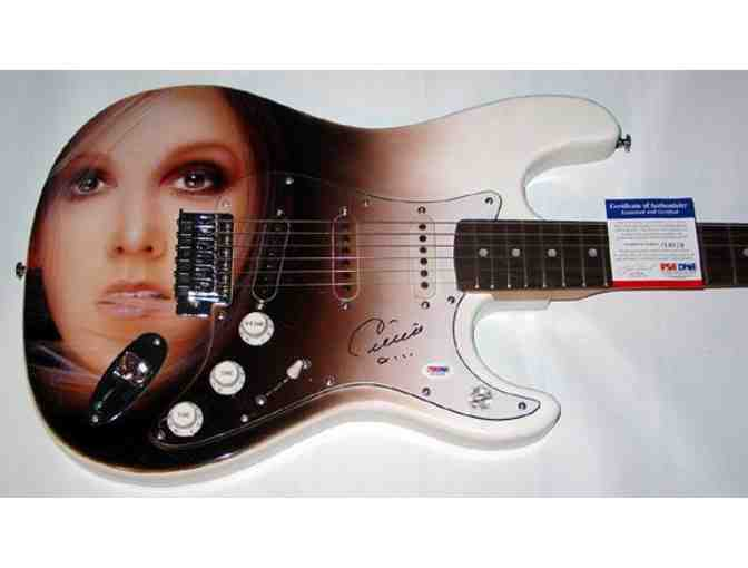 CELINE DION AUTOGRAPHED AIRBRUSH GUITAR & PROOF PSA DNA