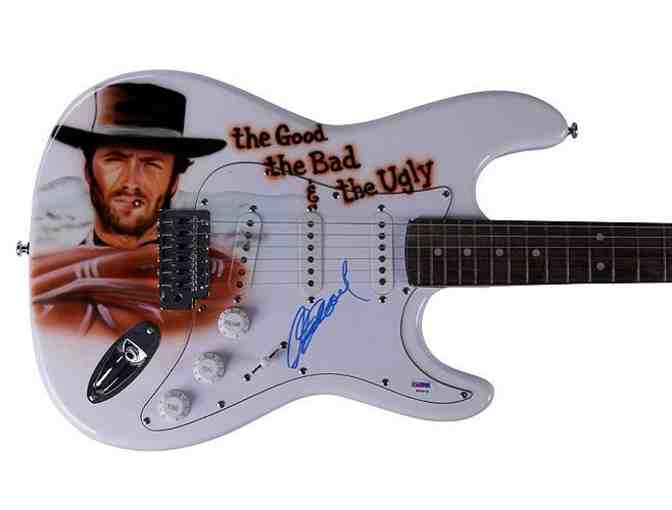 Clint Eastwood Autographed Good Bad & Ugly Airbrush Guitar PSA