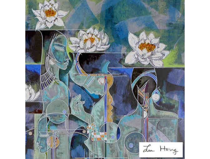 'Lotus' by Lu Hong  DeLuxe Serigraph on Rice Paper, Signed & Numbered by the Artist