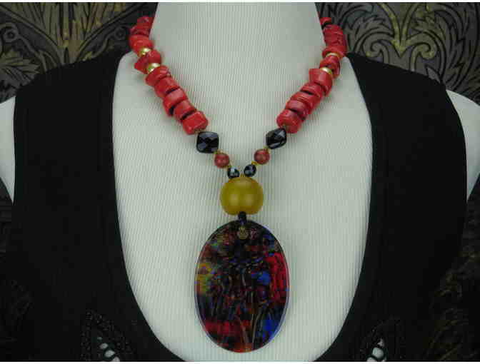 'Gemini' 1/Kind Statement Necklace: Amber, Coral, Onyx and  Porcelain Art Pendant!