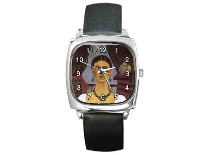 'Time Flies' by Frida KAHLO:  FREE Leather Band ART WATCH w/BID!
