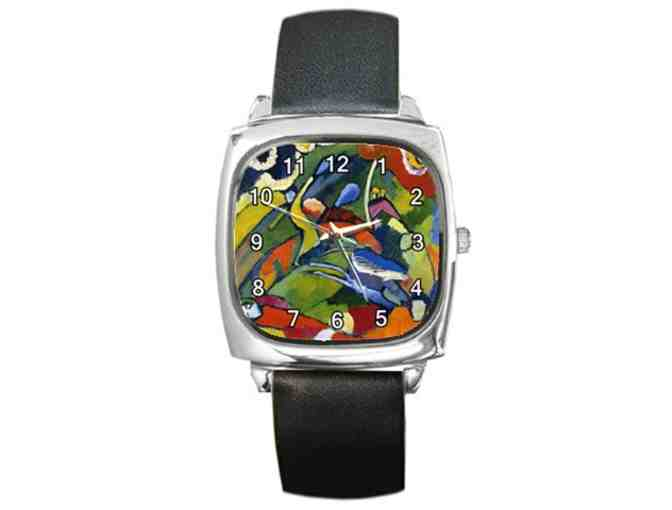 'Two Riders and Reclining Figure' by KANDINSKY:  Free Leather ART WATCH w/BID!