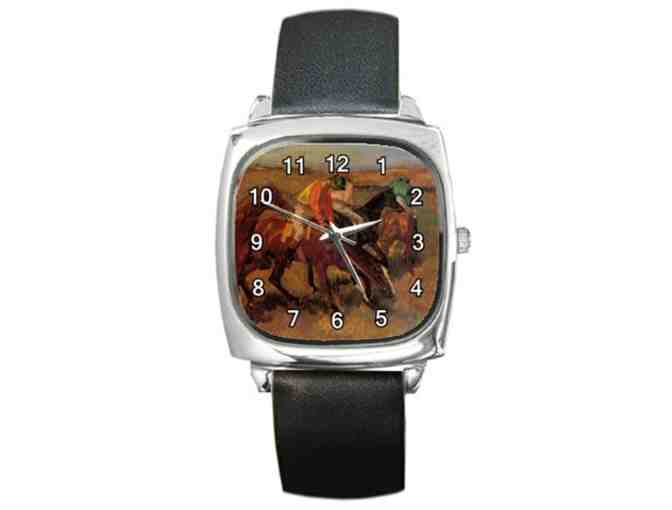 $0! FREE LEATHER BAND WATCH W/ART BID: 'Before The Race' by Edgar DEGAS