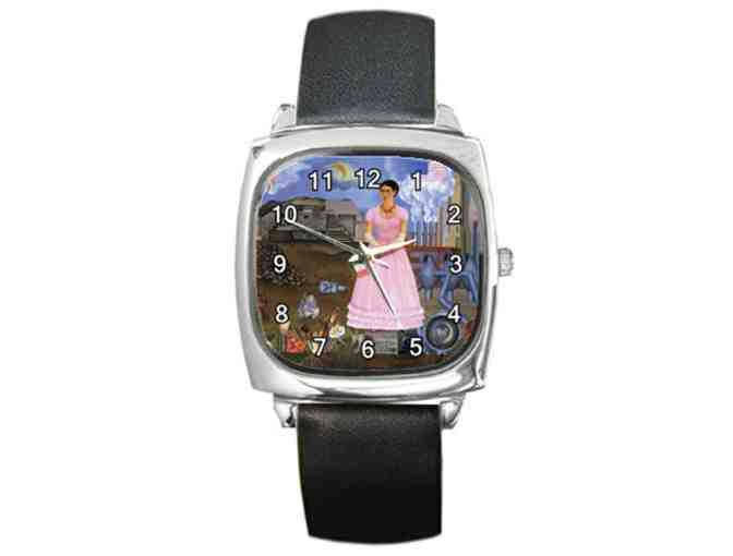 $0! FREE LEATHER BAND WATCH W/ART BID: 'Between Mexico & U.S.' by Frida KAHLO
