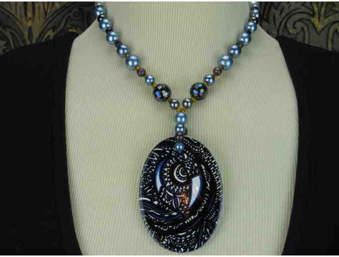 1/kind 'Blue Moon' Necklace:  Porcelain ART Pendant, Onyx, Hematite!