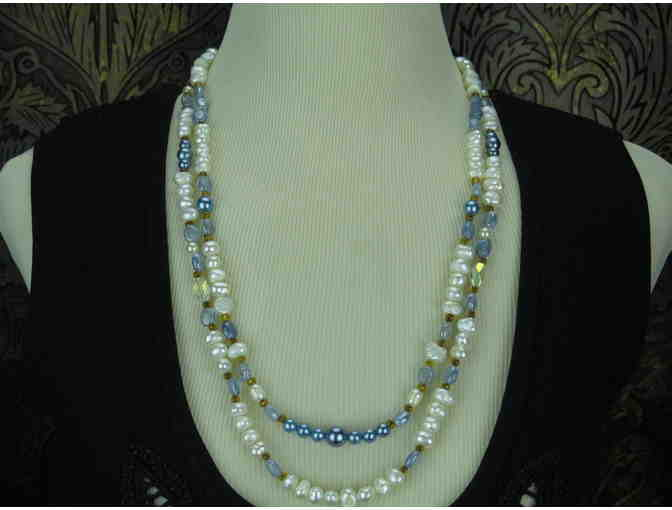 Pearl Necklace:  Double Strand Freshwater Pearls, accent pearls and gemstone beads!