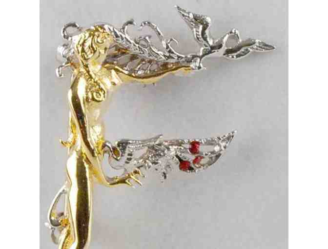 From the 'Father Of Art Deco', Collectible Art to Wear: ERTE 'F' Pendant/Brooch