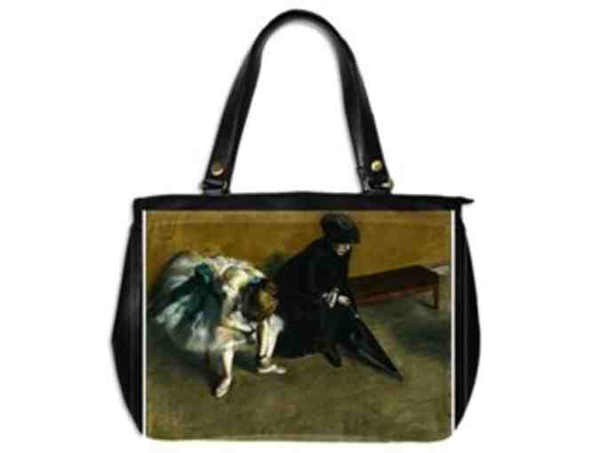 'WAITING' by Degas:  Custom Made Leather Art Tote Bag!