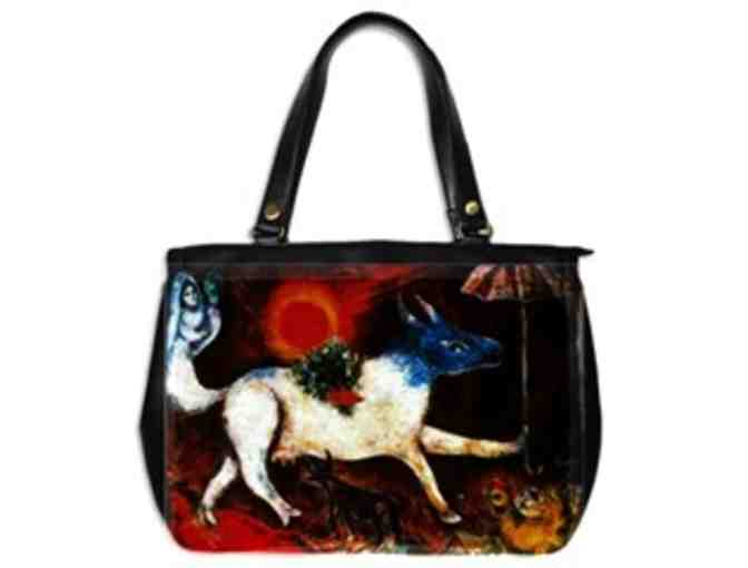 'COW WITH PARASOL' by Marc Chagall:  Luxury Leather and Art Tote!