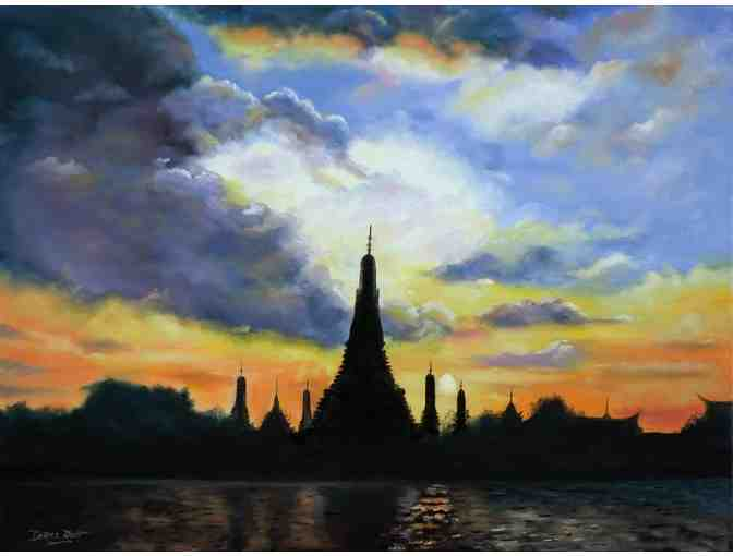 'The Temples Of The  Dawn in Bangkok at Sunset' by Artist Derek Rutt