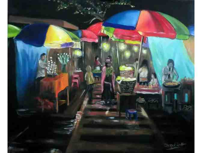 'Local Thai Market At Night' by Artist Derek Rutt