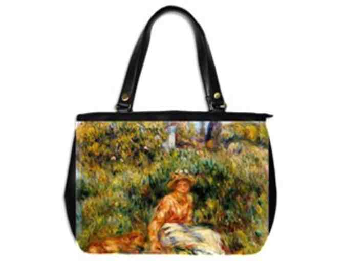 'YOUNG WOMAN IN A GARDEN' by RENOIR:  Luxury Leather/Art Tote Bag!