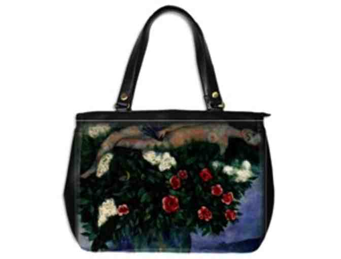 'WOMAN AND THE ROSES' by Chagall:  Custom Made Leather Art Tote Bag!