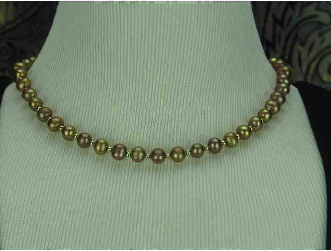 #132: BRONZE FRESHWATER PEARLS W/14 kt GOLD BEAD SPACERS AND BRACELET