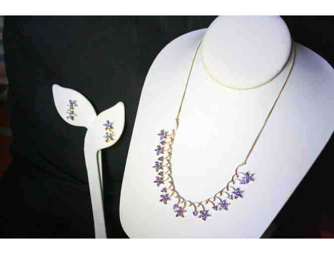 7 CARATS OF TANZANITE!  NECKLACE AND EARRING ENSEMBLE!