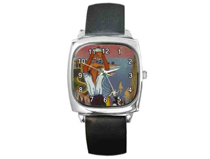 """Man Holding Up A Baby"" by DALI:   Leather ART WATCH ! - Photo 1"