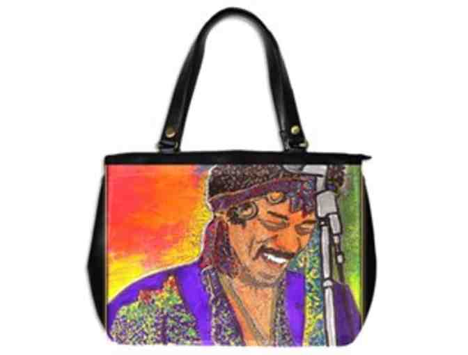 'JIMI'S SMILE': ! Leather Art Tote:  Custom Made IN THE USA! Exclusive To ART4GOOD Auction