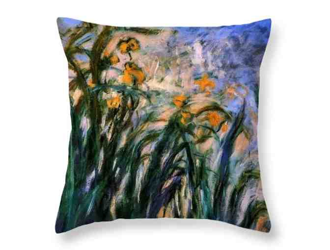 'Yellow Irises and Malva' by MONET: Custom Made, HUGE: 26x26' Unique ART Throw Pillow!