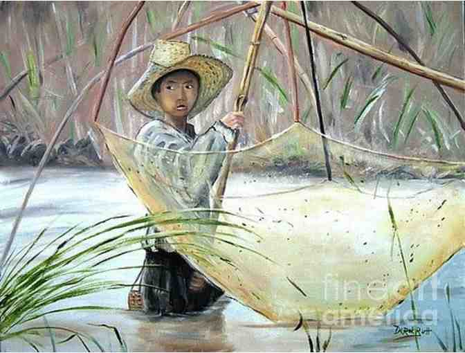 'Young Thai Boy Net Fishing' by Derek Rutt: CANVAS! 10.00' x 7.50'