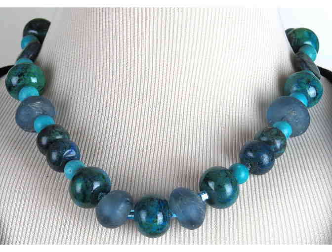 Delightful Azur Blue 'Staple'  GEMSTONE NECKLACE , 1/Kind, Handcrafted! #374