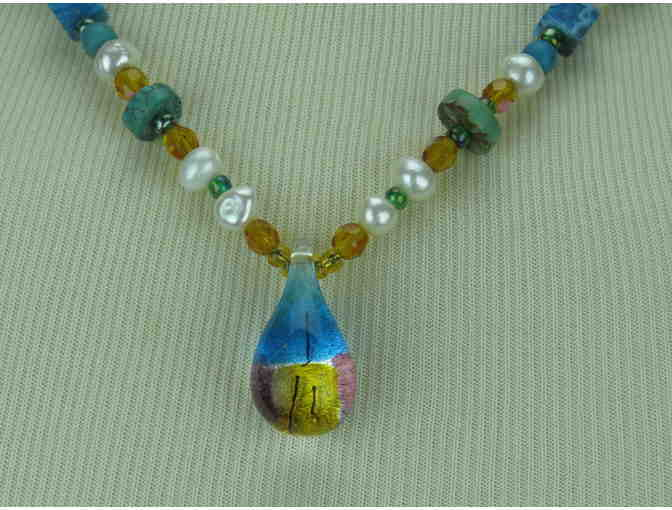 Whimsical  necklace w/Pearls and Turquoise/Magnesite beads, Art Glass Drop Pendant!