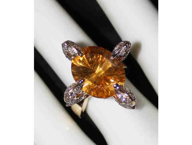 ' 1 ONLY ULTRA COUTURE RING!' QUANTUM CUT DEEP COLOR CITRINE AND CHOCOLATE DIAMONDS!