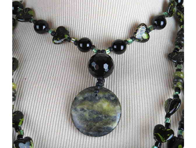 Unique and Mysterious Necklace  #391 , WITH GENUINE MOSS AGATE DROP PENDANT!