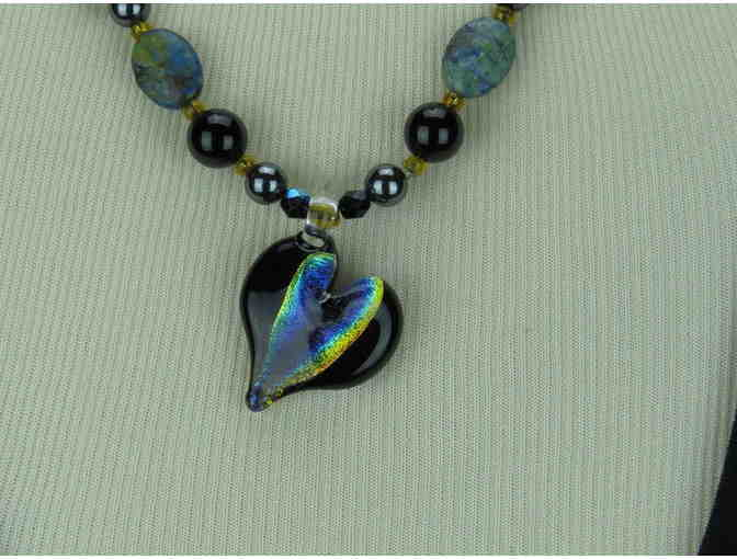 Whimsical 1/KIND Necklace features Genuine Black Onyx and Porcelain Accents!