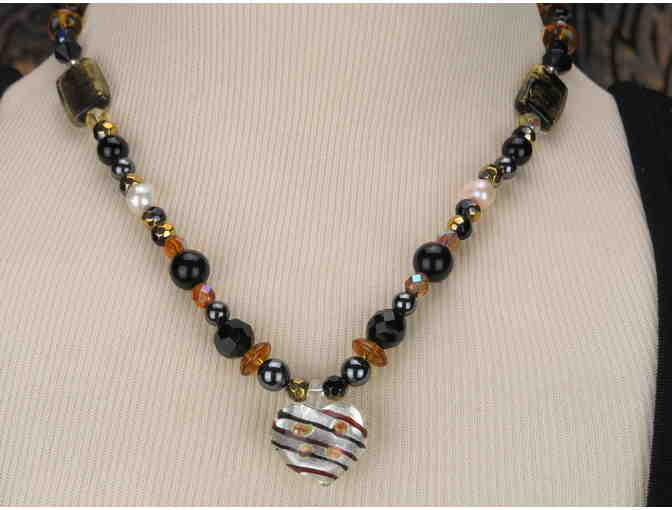 WHIMSICAL AND ROMANTIC Heart Necklace with Genuine Black Onyx! 1/Kind, Handcrafted!