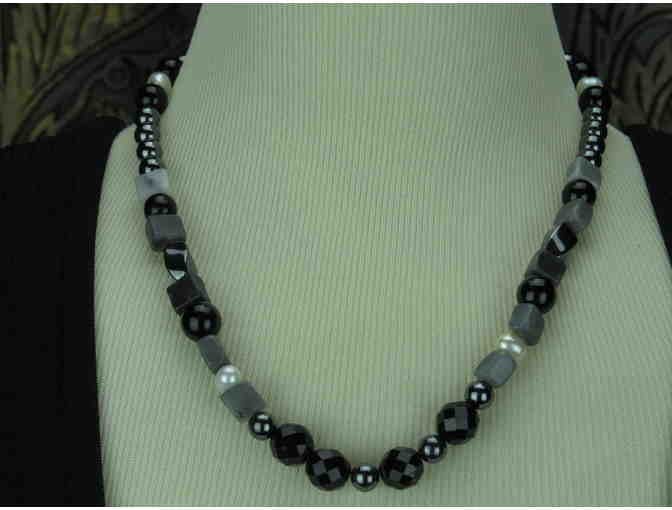 Tuxedo Junction: 1/KIND! Necklace features Genuine Black Onyx and Hematite!