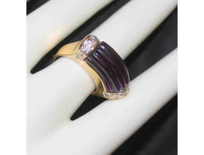 ULTRA COUTURE 'BAMBO CUT' DEEP AMETHYST, DIAMOND RING IN 14 KT GOLD!