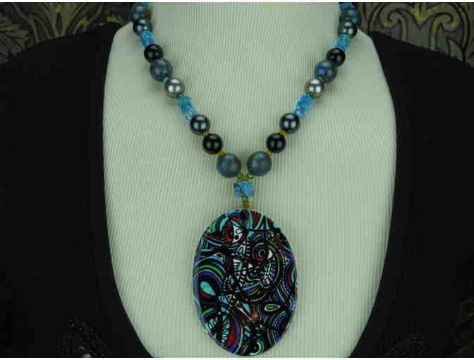 'Teal Time'1/KIND Gorgeous Necklace Art Pendant, Turquoise, Onyx, South Sea Shell Pearls!