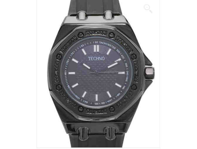 TECHNO Brand New Watch with Black Diamond Accents!