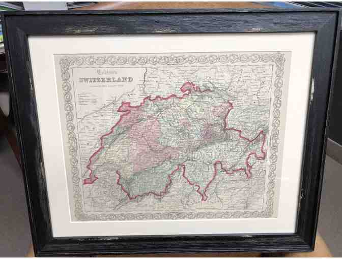 Map of Switzerland 1861 - matted and framed
