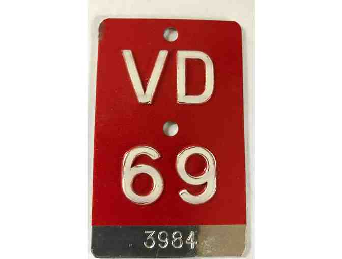 Legendary 1969 Canton Vaud Bicycle Plate