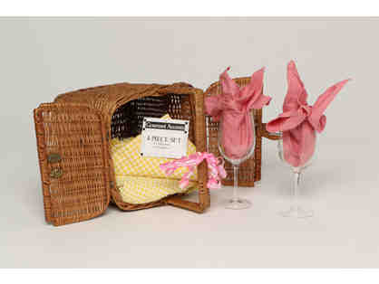 Wicker Basket with Leather  Clasp & Picnic Essentials