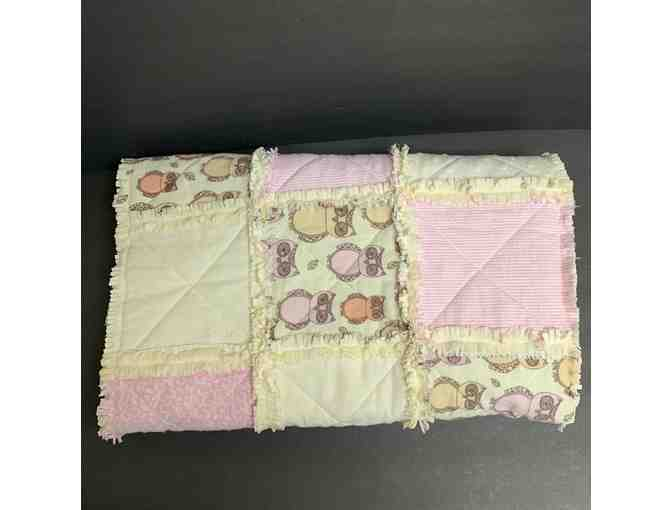 Pink and Yellow Owl Handmade Baby Quilt