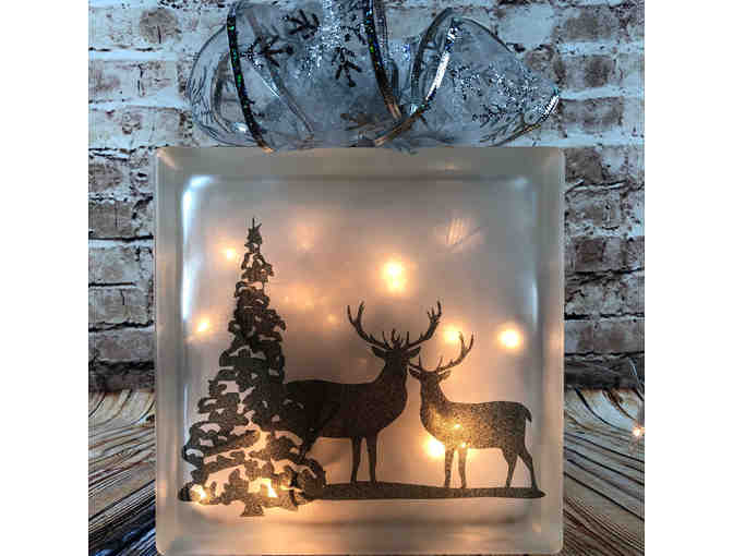 Winter Deer Light-up Glass Box