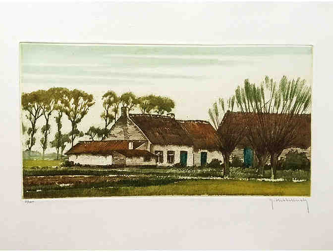 An original color etching by Roger Hebbelinck - Photo 1