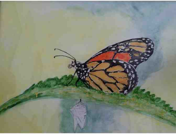 Handpainted Framed Watercolor painting of Monarch Butterfly - Photo 1