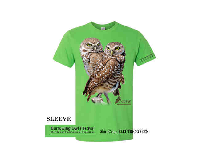 Adult Crew Neck Burrowing Owl Pair in Neon Blue and Electric Green - Photo 2