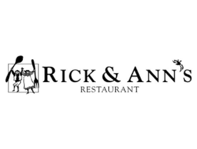 $30 Gift Certificate for Rick and Ann's