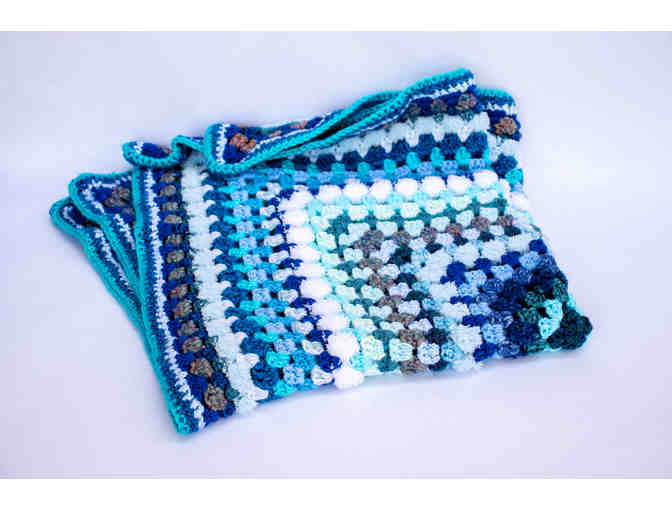Hand-Crocheted Blue & White Baby Afghan