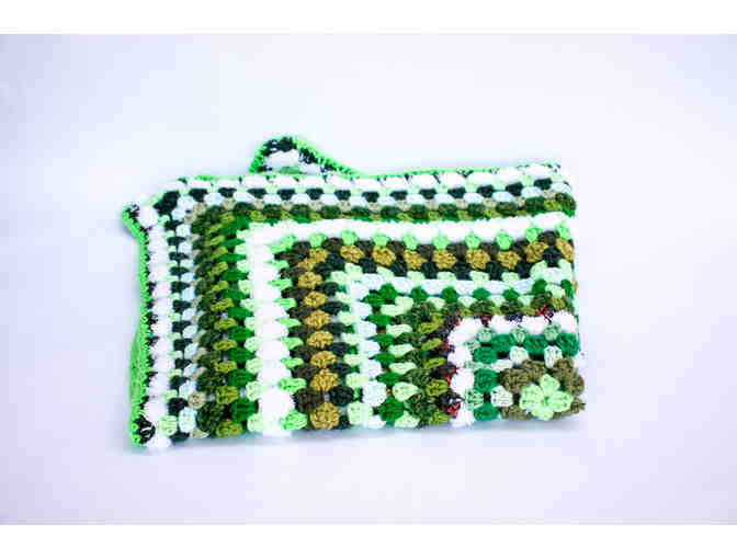Hand-Crocheted Green & White Baby Afghan