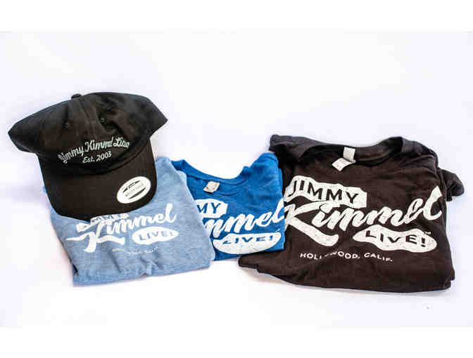 Set of Four (4) Jimmy Kimmel Live! T-shirts Plus One (1) Hat for the Family