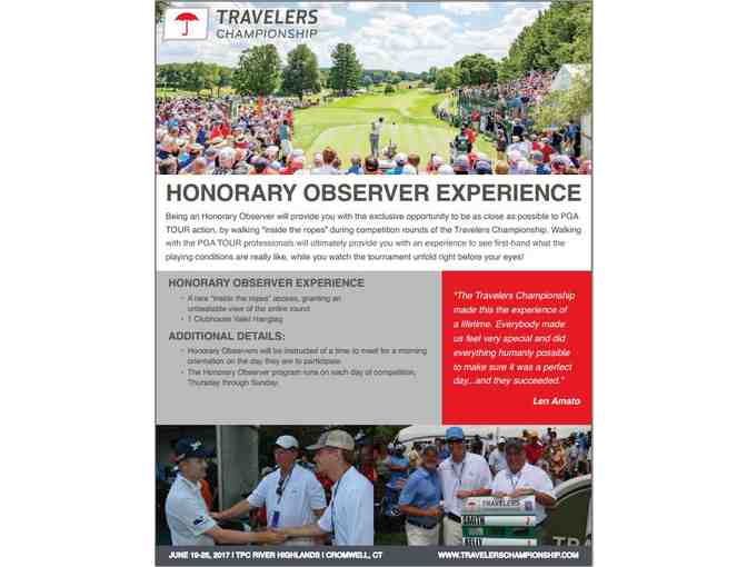 Honorary Observer Experience - Final Round 'Inside the Ropes'