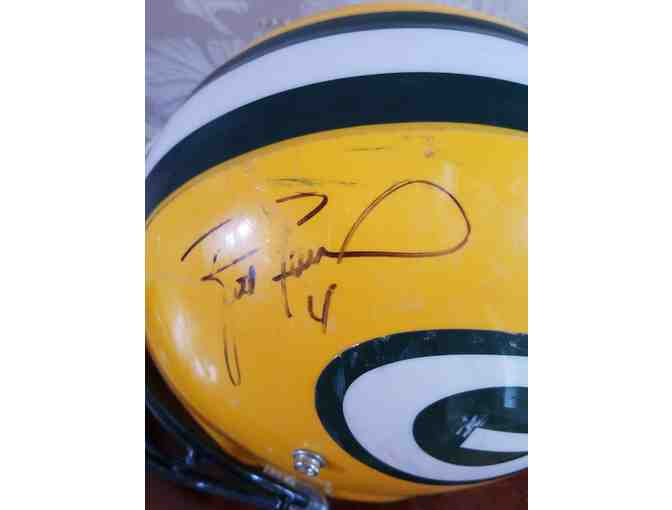 Game-Worn, Autographed Brett Favre Green Bay Packers Helmet