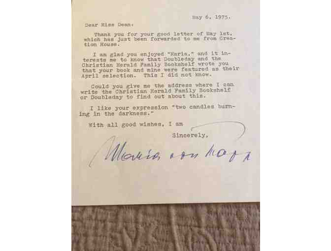 Letter and Envelope signed by 'Maria Von Trapp' from May 6, 1975
