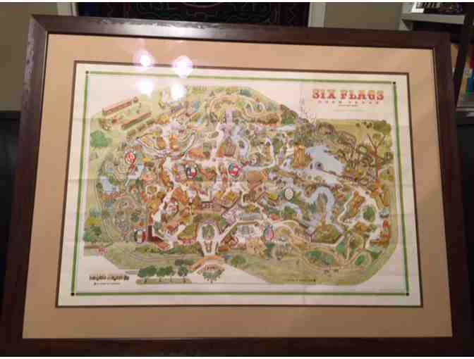 Conversation Piece! 1965 Custom Framed Original Print of Six Flags in  Texas!